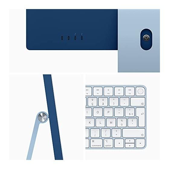 2021 Apple iMac  24Pouces, Puce AppleM1 avec CPU 8cœurs et GPU 8cœurs, Quatre Ports, 8Go RAM, 256Go  - Bleu