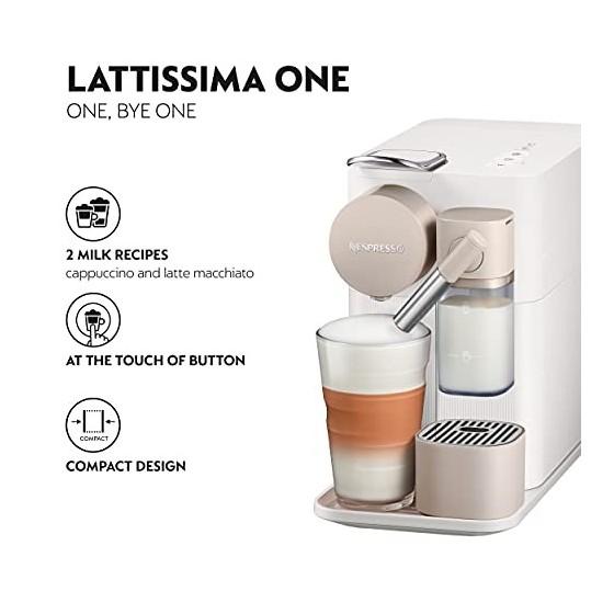 DeLonghi Lattissima One Evo, Machine à café en capsules à usage unique, mousseur de lait automatique, cappuccino et lait, EN