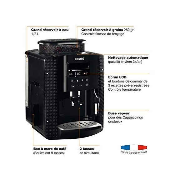 Krups Essential Machine à Café à Grain Machine à Café Broyeur Grain Cafetière Expresso Ecran LCD Nettoyage Automatique Buse V