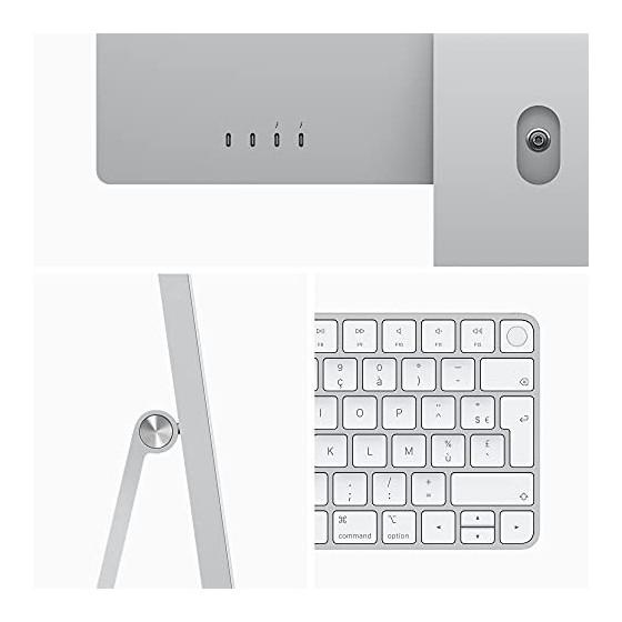2021 Apple iMac  24Pouces, Puce AppleM1 avec CPU 8cœurs et GPU 8cœurs, Quatre Ports, 8Go RAM, 256Go  - Argent