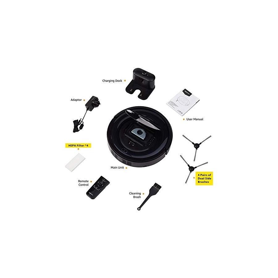 Amazon Basics Robot aspirateur, design fin, 18 W 800 Pa avec 6