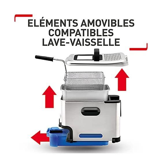 Tefal Oleo Clean Friteuse semi-professionnelle 3,5 L, 2300 W, Jusquà 6 pers, Filtration automatique de lhuile, Minuteur dig