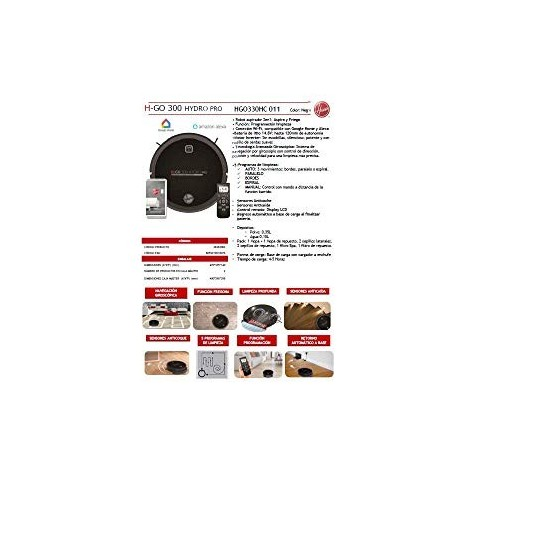 Hoover HGO330HC Hydro Pro Robot aspirateur, aspirateur, Barre