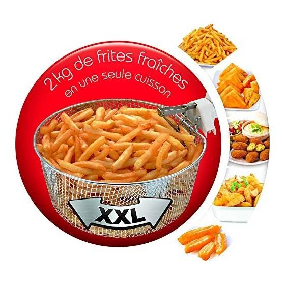 Moulinex Friteuse Fry Mega, Capacité 3,3 L d'huile pour 2 Kg de frites, 1800 W, Thermostat, Minuteur, Voyant lumineux, Parois